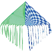 Op-Art Green Blue Fringe Delta Kite