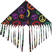 Black Peace Signs Fringe Delta Kite